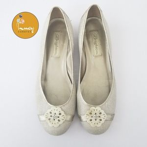 Brighton linen round toe elevated flat shoes
